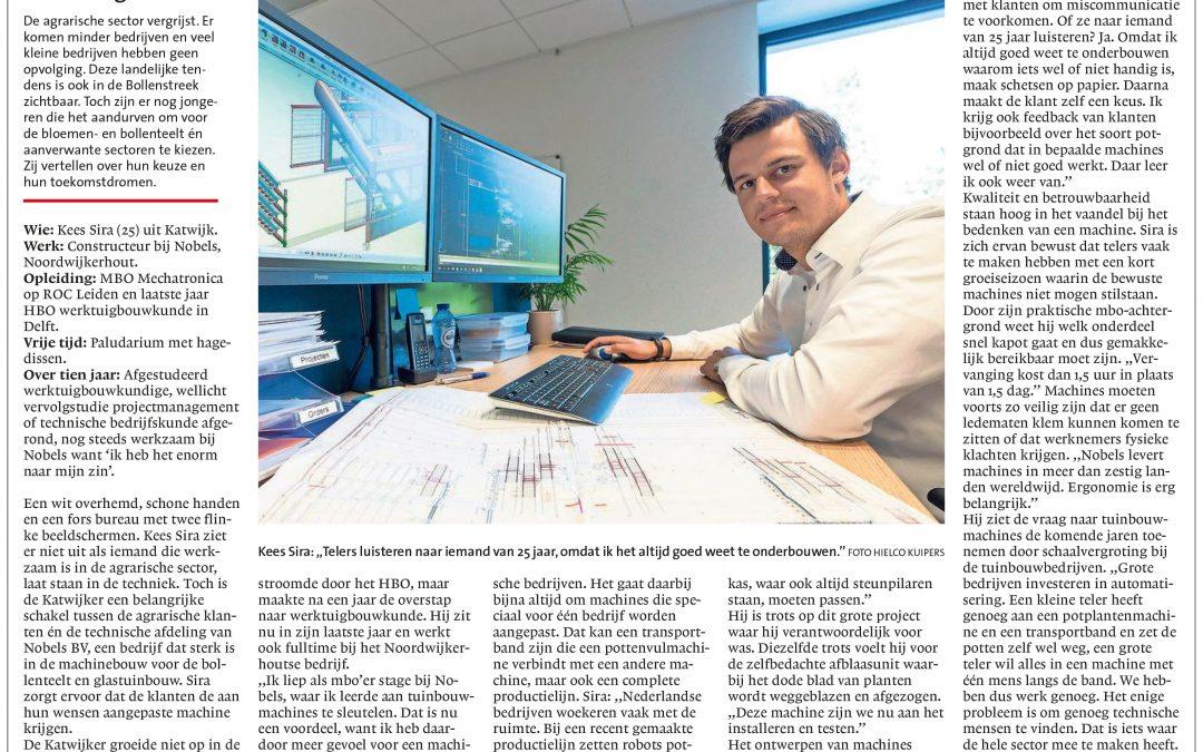 Artikel over Kees Sire in het Leidsch Dagblad. Engineer collega bij Nobels in Noordwijkerhout